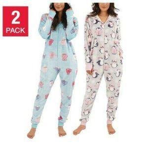 Munki Munki Women's One Piece Pajamas, 2-Pack